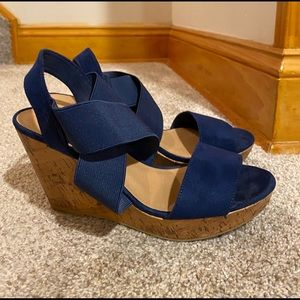 American Eagle navy wedge sandals